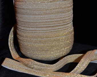 Gold Metallic Fold Over Elastic - 5 yards of 5/8 inch