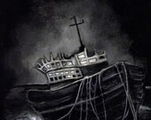 Dark Voyage - Ship - Horror - Sailing - Sea - Black - Dark - Eerie - Ghost - Haunted - Original art painting by Rouble Rust