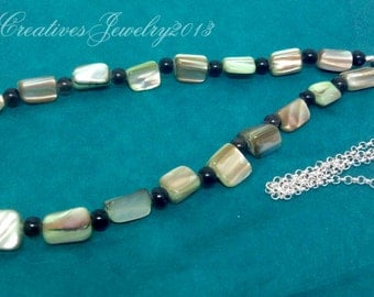 Green Mother of Pearl and Smokey Quartz Necklace, Silver