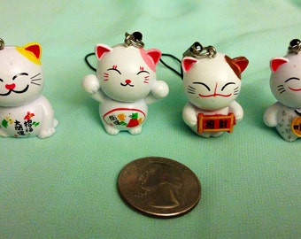 FREE SHIPPING 4 PC Fortune kitty charms