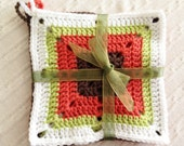 Set of 4 large crocheted pot holders - 3 patterns