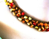 Orange Salmon Beaded Choker Necklace, Beadweaving Necklace, Multi Stone Necklace, fall trends, beadweaving jewelry