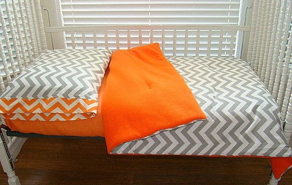 Toddler Bedding Grey And Orange Chevron And By Ironandthread