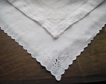 Vintage white handkerchief home and wedding decor, bridal country napkin shabby cottage chic, Set of 2 handkerchief