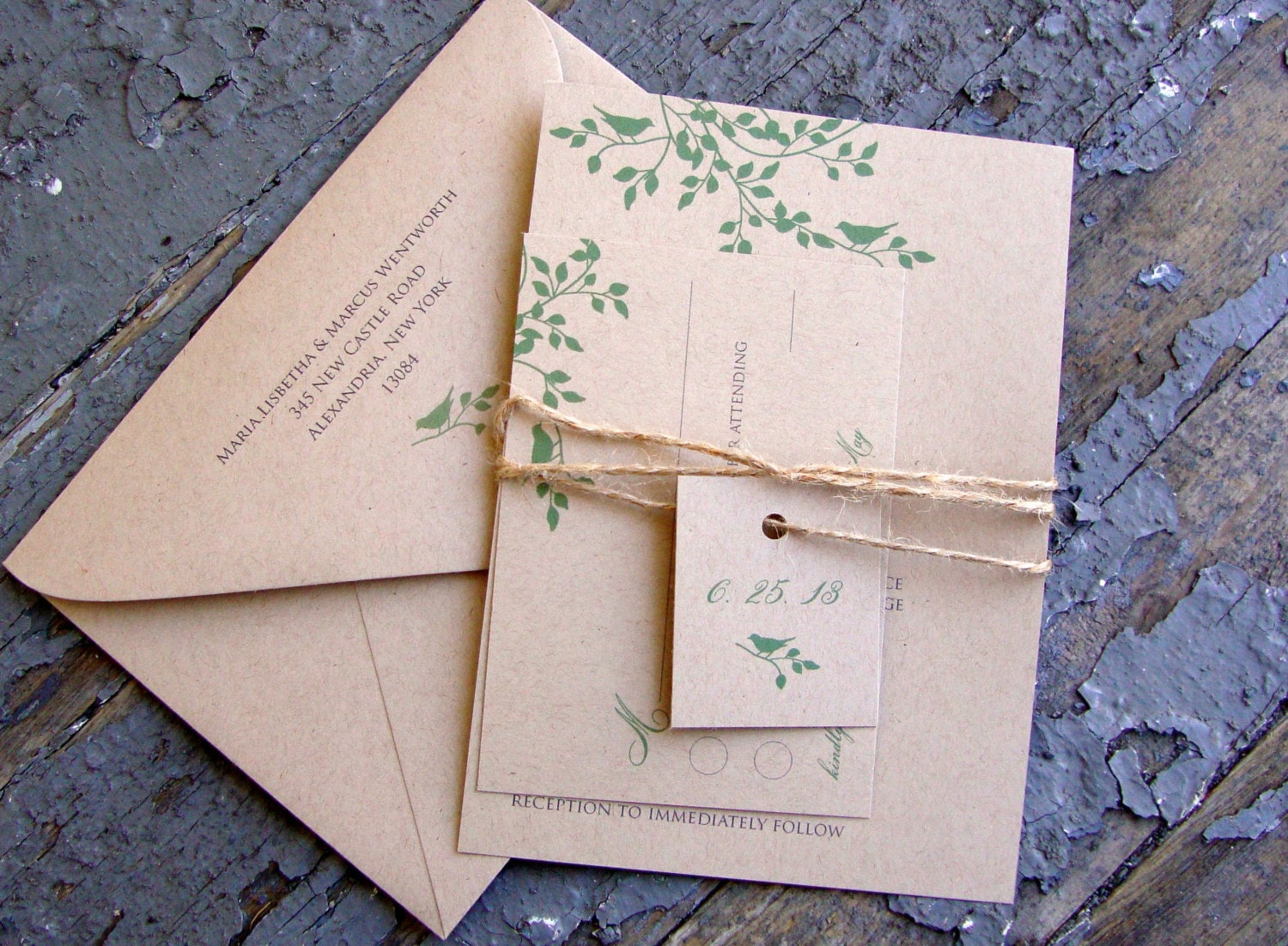 Bird Wedding Invitation: Birds And Branches Wedding Invitation Suite Eco Friendly