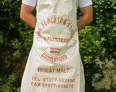 Upcycled Brewers Wheat Malt Apron in Brown, Green and White