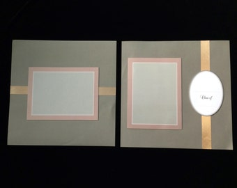 New - Two 12 X 12 Pre-Made Scrapbooking Pages Graduation No.9 (tones of gray)