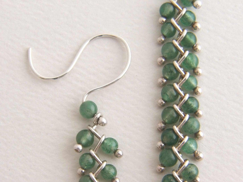 sterling bead earrings dangle earrings green bead
