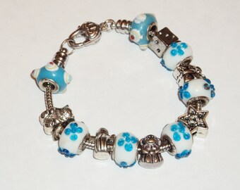 Turquoise and White Lampwork Beads and Charm Bracelet