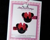 Hot Pink Minnie Mouse Zebra Barrettes