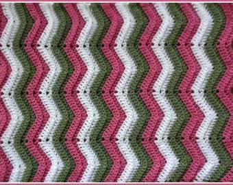 Handmade Crochet Rose, Moss Green and White Baby Blanket