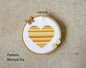 Little gold Heart cross stitch pattern needlepoint - LaMariaCha
