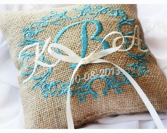 Personalized Burlap Wedding ring pillow , ring pillow, ring bearer pillow with Custom embroidery (R14B)