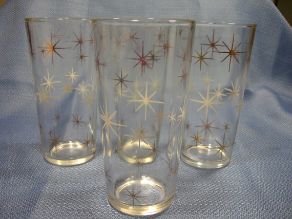 Vintage atomic starburst glasses tumblers by rosearborvintage - Starburst glassware ...