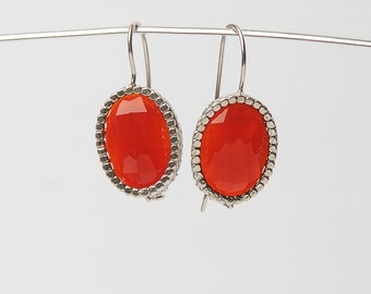 Silver Oval earrings with Korneol