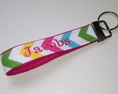 Personalized Keychain, Wristlet, Keyfob, Lanyard - Riley Blake Rainbow Chevron