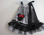 "Girls Animal Print ""MINNIE MOUSE"" Pillowcase Dress Sz.18 months(17 1/2 inches long)"
