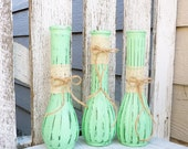3 SHABBY CHIC Mint Painted Glass Bud Vases with Antique Lace