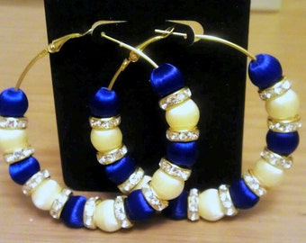 Love and Hip Hop and Basketball wives inspired hoop with silk blue and white beads