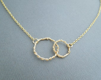 Gold Circles Necklace, Gold Wire Necklace, Twisted Rings, Small Circle Necklace, Friendship Necklace, Anniversary Gift