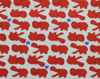 Japanese Kokka Trefle Hippo Fabric - Red on White - Kids Quilting Fabric - Lightweight Cotton Canvas - Kawaii Japanese Fabric - HALF YD