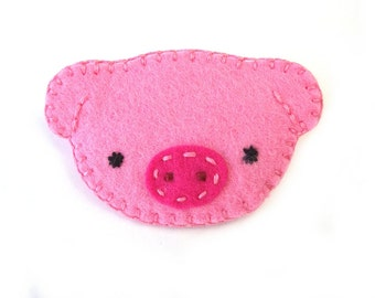 Cute pink pig brooch, felt jewelry, pinback button, broach pin, little piggy