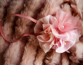 Pink headband or hair clip, Pink baby headband with flowers, pink flower girl headband. Headband sale.