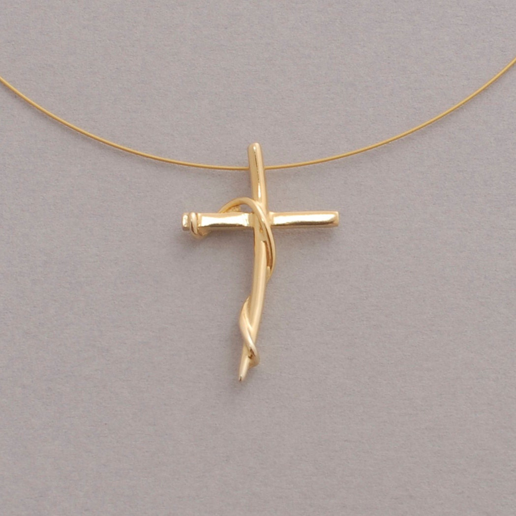 womens cross necklace gold plated cross on wire handmade. Black Bedroom Furniture Sets. Home Design Ideas