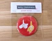 Cherry Blossom pocket mirror - Red