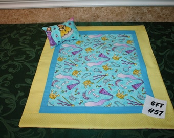 "Princess print, American Girl sized, reversible doll bed quilt 17"" x 20.5"" with matching pillow 4"" x 6"""