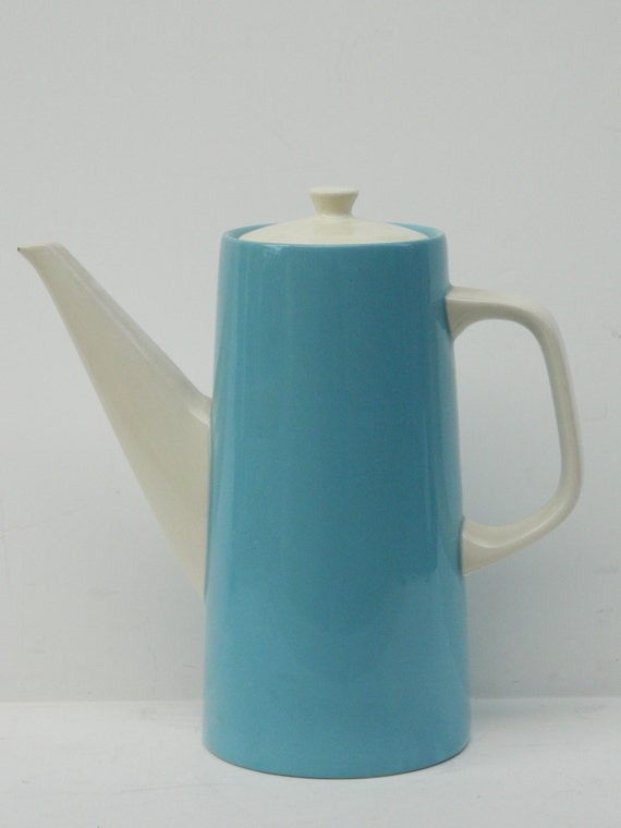 Mid Century Modern Blue and White Ceramic Tea or Coffee Pot - Majolica Kasuga Japan