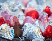 A little chocolate: funny & romantic card with chocolate kiss image and Charles M. Shultz quote
