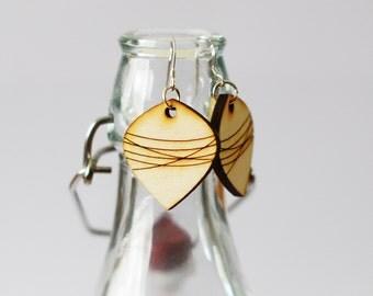 Wooden Striped Earrings - Laser cut earrings - gifts for her - women's earrings