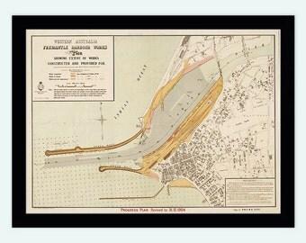 Vintage map of Fremantle Port Harbour and Perth, Australia 1904