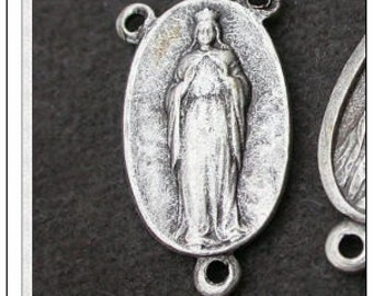 French vintage 6pcs alumium rosary medal silver religious medal  our lady of knock vintage charm pendant