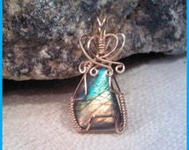 Labradorite Spectrolite 14K Gold Filled/ Sterling Silver Wire Wrapped Pendant Pw003