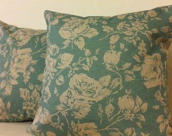 Pearl Eaton, 16x16, pillow covers, zipper closure, same fabric on both sides, Seafoam green and cream