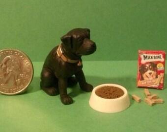 Dollhouse Miniature Black Lab Dog Set   1:12 One Inch Scale