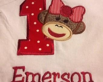 Girl Sock monkey birthday t-shirt