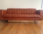 Mid Century Modern Leather and Chrome Sofa by Davis Furniture Industries
