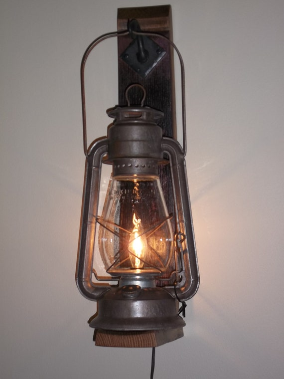 Rustic Electric Wall Sconces : Items similar to REDUCED! Rustic Lantern Wall Sconce on Etsy