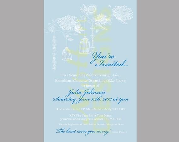 Something Blue Bridal Shower Invitation PRINTABLE