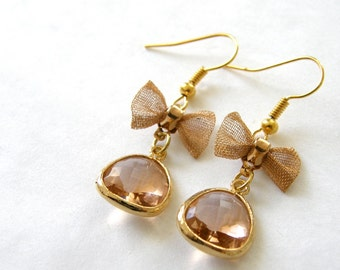 Peach Glass and Mesh Bow Dangle Earrings, Feminine, Kitsch, Wedding Jewelry, Mom Gift, Bridesmaid Gifts