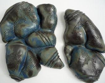 Blue Diptych Ceramic Wall Sculpture--Cetaceous