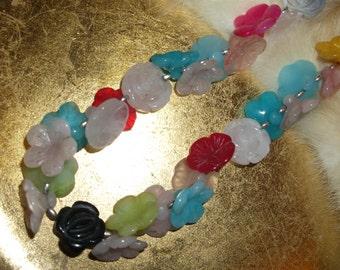 Glass Flower Necklace - Vintage Jewelry