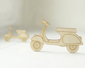 BIG wooden vespa shape, natural wood,  ready to decorate, unpainted, make your own necklace, wooden supplies, jewelry supplies, scooter,DIY