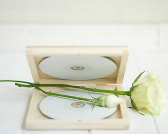 Double CD case, wedding case, wooden box, keepsake box, natural wood , wedding keepsake, dvd keepsake, cd case, cd box, dvd box