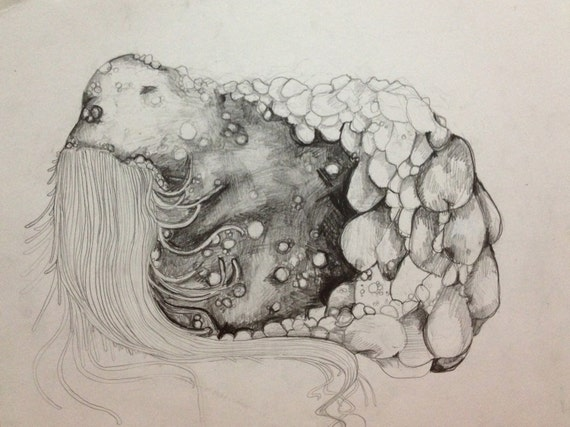 Items similar to Abstract Sea Monster Pencil Drawing 4 out ...