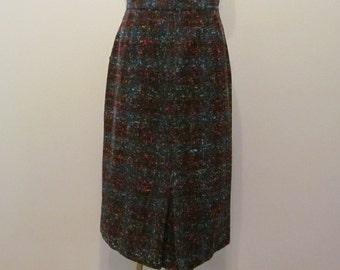 1950's Wool Tweed Pencil Skirt in Multicolored Flecks