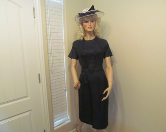 Vintage 1950's-60's Navy Blue Wiggle Mad Men Secretary Dress by John Norman